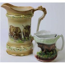 Collection of 2 pitcher and shaving mug