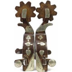 Large double mounted spurs stamped Overton