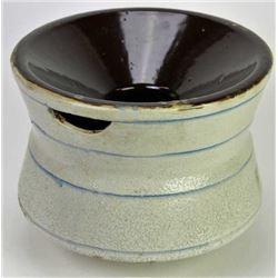 Uncommonly large stoneware spittoon