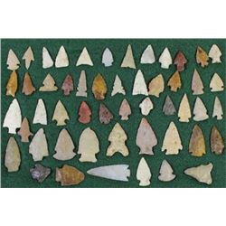 Collection of 51 authentic arrowheads