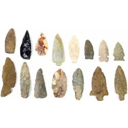 Collection of 15 authentic arrowheads and knife