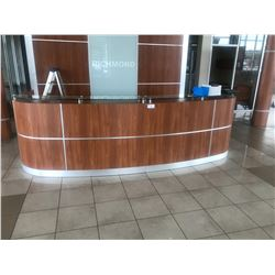 SPECTACULAR CUSTOM CHERRY U-SHAPED RECEPTION COUNTER, APPROX. 15' X 5'