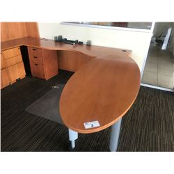 CHERRY L-SHAPED EXECUTIVE DESK WITH ROLLING CONFERENCE TOP