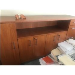 CHERRY CREDENZA / WALL UNIT, BOOKCASE AND FILE CABINET (UPSTAIRS)