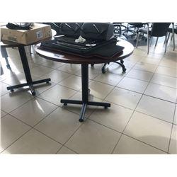 MAHOGANY ROUND LUNCHROOM TABLE