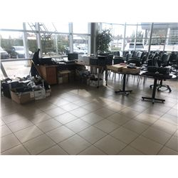 LARGE LOT OF ELECTRONICS AND A SMALL DESK