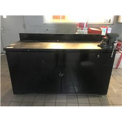 6' X 3' HEAVY DUTY STEEL SHOP BENCH WITH VISE