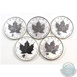 5x 2016 Canada $5 Privy Mark 1oz .9999 Fine Silver Maple Leafs (TAX Exempt). You will receive: Wolf,
