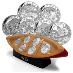 RCM Issue: 2015 $10 Canoe Across Canada Fine Silver 6-coin Set & Canoe Shaped Box in Original Cardbo