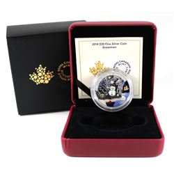 RCM Issue: 2014 Canada $20 Venetian Glass Snowman Fine Silver Coin (TAX Exempt)