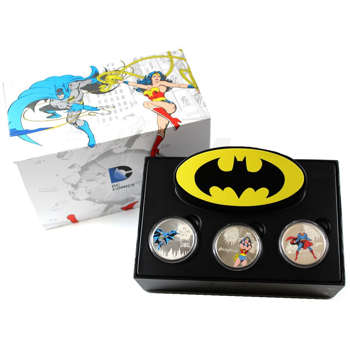 RCM Issue: 2016 Canada $20 DC Comics Originals Fine Silver Coin 3-coin Set  in Deluxe Display Packagi