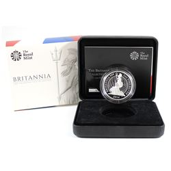 Royal Mint Issue: 2014 Proof 2 Pound 1oz Britannia .999 Fine Silver Coin in All Original Packaging (
