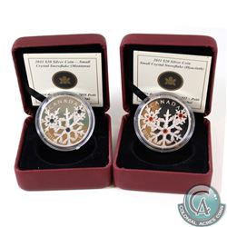 RCM Issue: 2x 2011 Canada $20 Small Crystal Snowflake Fine Silver Coins. You will receive Montana &