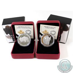 RCM Issue: Lot of 2x 2014 Canada $20 The Bison Fine Silver Coins - The Bull and His Mate & A Portrai