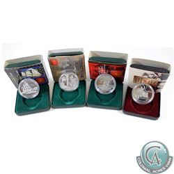 RCM Issue: 1997, 1998, 1999 & 2002 Canada Commemorative Proof Silver Dollars. Outer sleeves might be