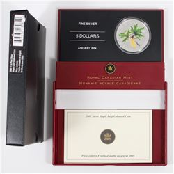 RCM Issue: 2005 Canada $5 Coloured Silver Maple Leaf in All Original Packaging (coin has small tonin