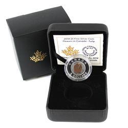 RCM Issue: 2014 $5 Flowers in Canada Tulip Fine Silver & Niobium Coin in All Original Packaging (coi