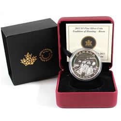 RCM Issue: 2013 Canada $5 Tradition of Hunting - Bison Fine Silver Coin. TAX Exempt