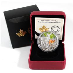 RCM Issue: 2015 Canada $20 Baby Animals White-Tailed Deer Fine Silver Coin (outer sleeve has a tear)