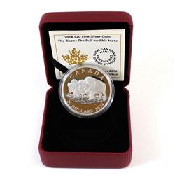 RCM Issue: 2014 Canada $20 The Bison: The Bull and His Mate Fine Silver Coin (outer cardboard sleeve