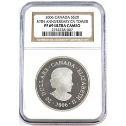 RCM Issue: 2006 Canada $20 30th Anniversary CN Tower NGC Certified PF 69 Ultra Cameo (TAX Exempt)