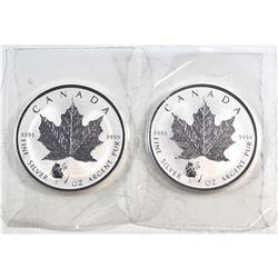 RCM Issue: 2 x 2016 Canada $5 Panda Privy Mark $5 1oz. Silver Maple Leaf (TAX Exempt) 2pcs