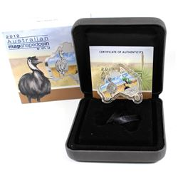 Perth Mint: 2012 Australia $1 Emu Map-Shaped Fine Silver Coin (small stain on outer sleeve) TAX Exem