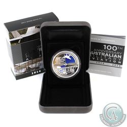 Perth Mint: 2014 Australia $1 100 Years of Australian Military Aviation Fine Silver Coin (TAX Exempt