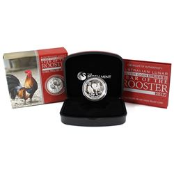 Perth Mint: 2017 Australia $1 Year of the Rooster High Relief 1oz Silver (Tax Exempt)