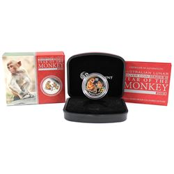 Perth Mint: 2016 Australia 50-cent Year of the Monkey Coloured 1/2oz Fine Silver Coin (Tax Exempt)