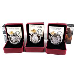 RCM Lot: 3x 2015 Canada $20 Grizzly Bear Series Fine Silver Coins. You will receive: The Catch, Toge