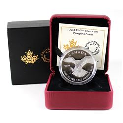 RCM Issue: 2014 Canada $5 Peregrine Falcon Fine Silver Coin (outer sleeve lightly worn). TAX Exempt