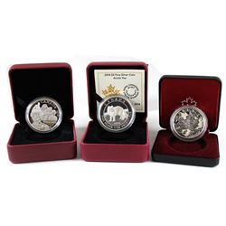 RCM Lot: 3x 2012-2014 Canada $5 Fine Silver Coins - 2012 $5 Georgina Pope (capsule is cracked), 2013
