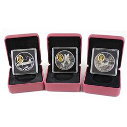 RCM Lot: 3x 1995-1999 Canada Aviation Series Sterling Silver Coins - 1995 DCH-1 Chipmunk, 1998 CP-10