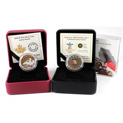 RCM Lot: Pair of Luckie Loonies - 2010 Olympic Sterling Silver (outer sleeve lightly bent, Coin ligh