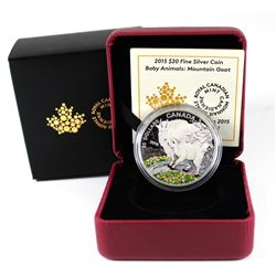 RCM Issue: 2015 Canada $20 Baby Animals - Mountain Goat Baby Fine Silver Coin (TAX Exempt)
