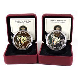 RCM Lot: 2x 2013 Canada $20 Butterflies of Canada Tiger Swallowtail Fine Silver Coins. Coins come en