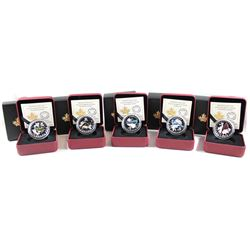 RCM Lot: 5x 2015 Canada $10 Colourful Songbirds of Canada Fine Silver Coins. You will receive the Vi