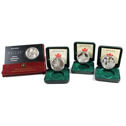 RCM Lot: 2002-2005 Canada Proof Silver Dollars Encapsulated in Original Display Boxes with COA (2002