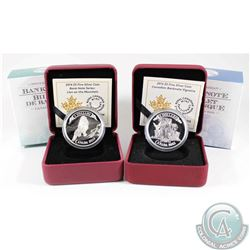 RCM Issue: Pair of 2014 & 2015 $5 Canadian Bank Notes Fine Silver Coins - 2014 Lion on the Mountain