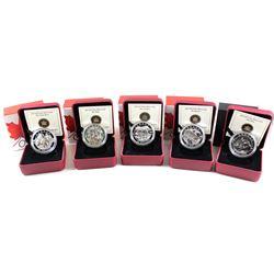 RCM Issue: 2013 $25 Oh Canada Fine Silver Coins - Orca, Beaver, Wolf, Caribou, and Polar Bear (Tax E