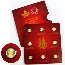 RCM Issue: 2015 Canada 8 x 1 gram Gold Maple Leafs (MapleGram8) Sheet (TAX Exempt)
