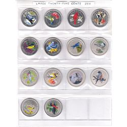 RCM Lot: Estate Collection of Complete 14x 25-cent Birds of Canada Coin Series in Plastic Display Pa