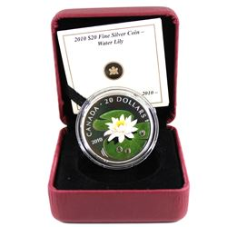RCM Issue: 2010 Canada $20 Swarovski Crystal - Water Lily Fine Silver Coin (no outer sleeve). TAX Ex