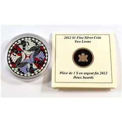 RCM Issue: 2012 Canada Silver Dollar Artistic Two Loons Fine Silver Coin (Tax Exempt). Coin comes ca