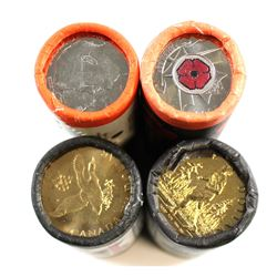 RCM Issue: 4x Canada Special Wrapped Original Rolls: 2004 25-cent Poppy, 2005 25-cent Year of the Ve