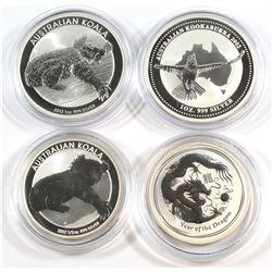 Perth Mint: 2002 1oz Kookaburra, 2012 1oz Kookaburra, 2012 Year of the Dragon 1/2 oz. and 2012 Koala