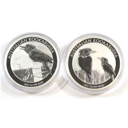 Perth Min: 2016 & 2017 Australia Kookaburra 1oz. .999 Fine Silver Coins. 2pcs