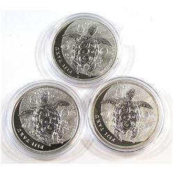 NZ Mint: 2011, 2012 & 2013 Fiji Taku Turtle 1oz .999 Fine Silver Coins. 3pcs