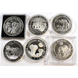 Somali Republic: 2011, 2013, 2014, 2015, 2016 & 2017 African Elephant 1oz .999+ Fine Silver Coins (T